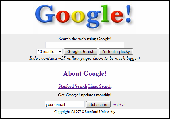 The original Google homepage