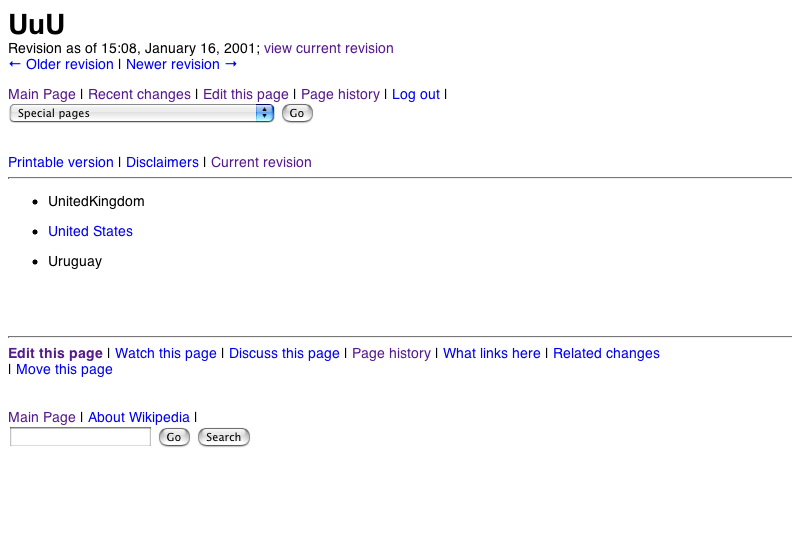 The earliest surviving edit in the current Wikipedia database.
