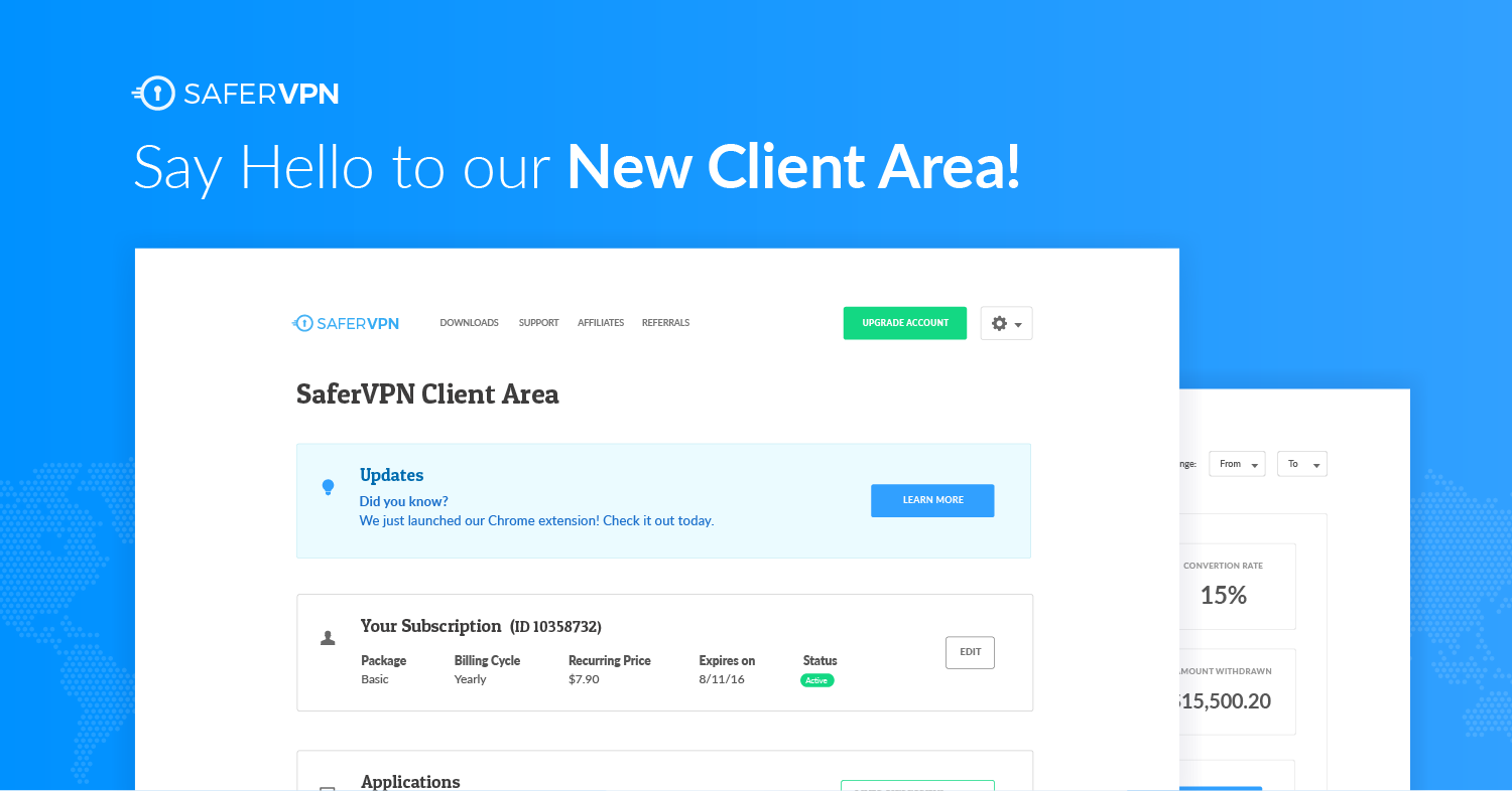 SaferVPN New Client Area