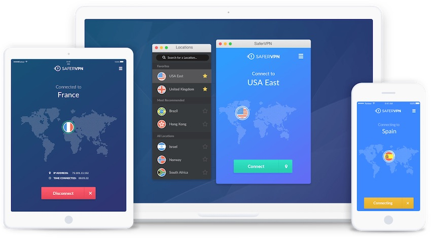 safervpn apps on different screens