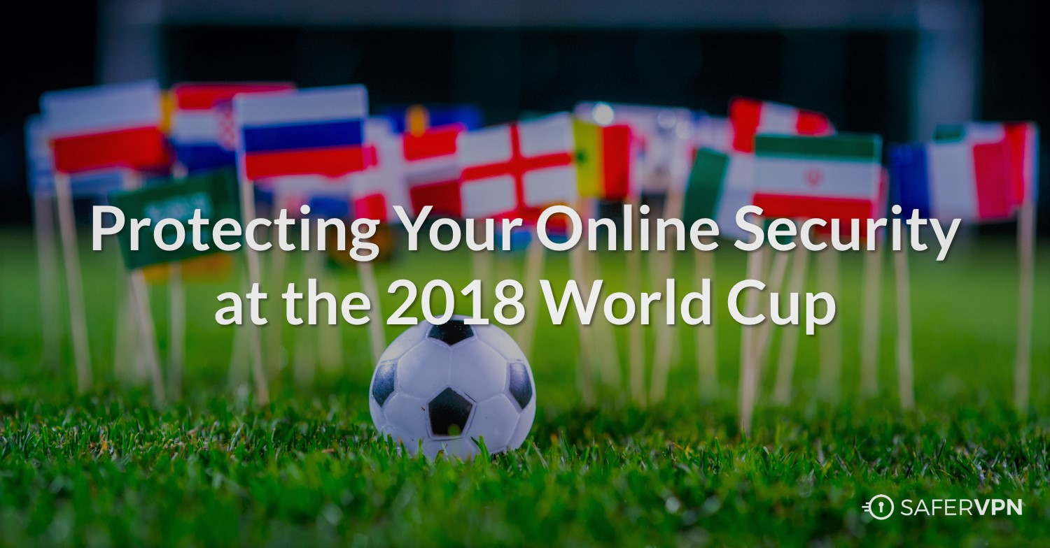 soccer ball on field with country flags with text: Protecting Your Online Security at the 2018 World Cup