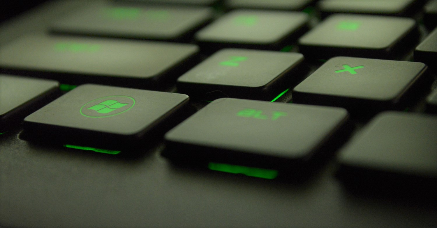 Cybersecurity image with green and black buttons