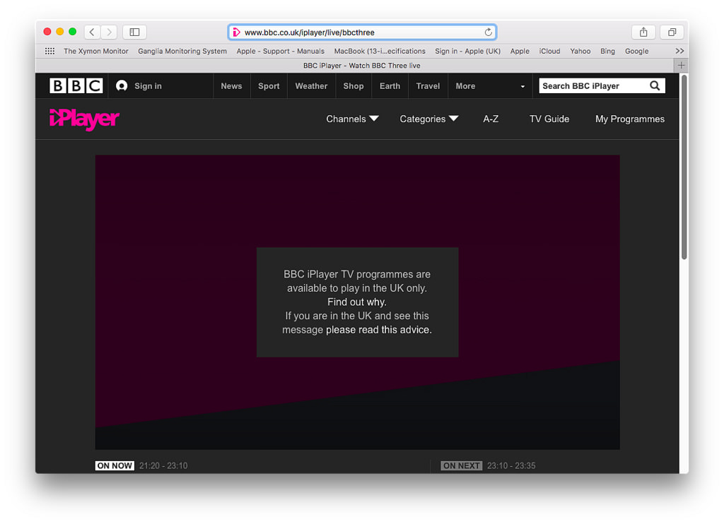 BBC iPlayer Error Message Only Available in the UK