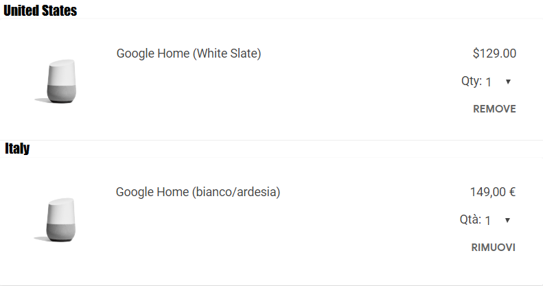 Google Home US and Italy prices