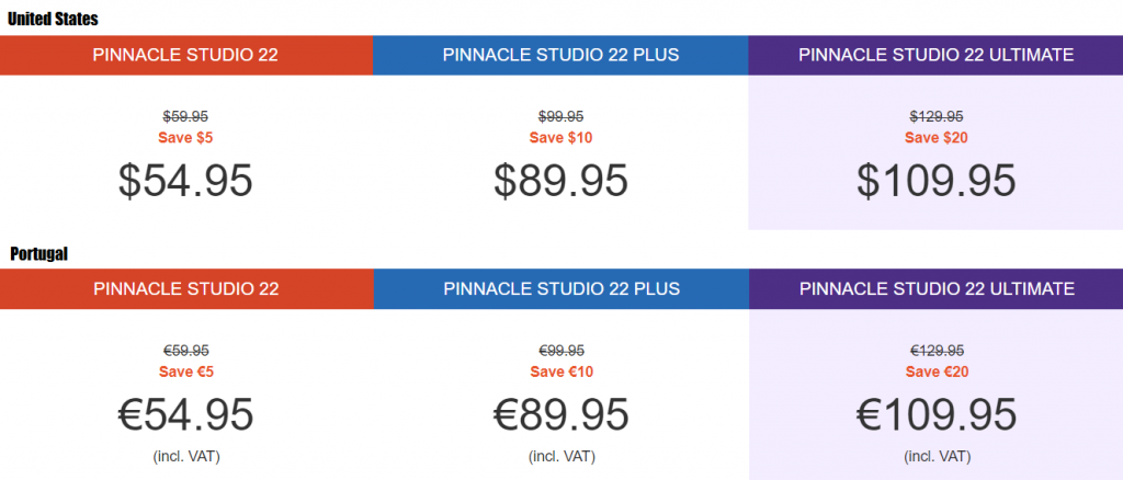 Pinnacle Studio 22, 22 plus, and 22 ultimate USA and Portugal prices