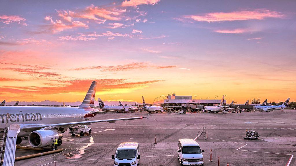 airport at dusk