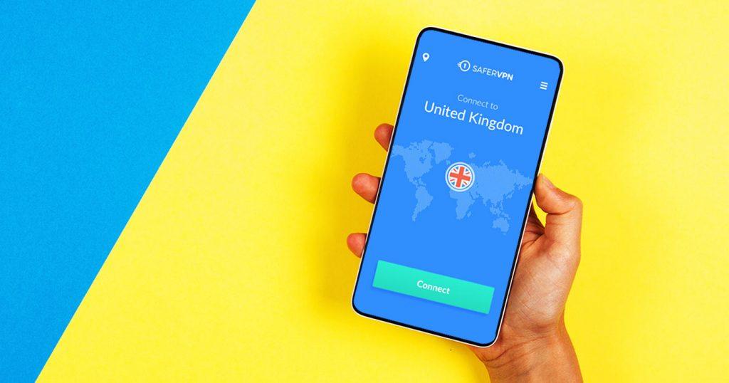 safervpn app on a mobile phone