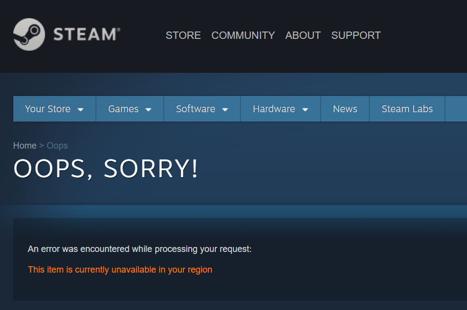 Steam geo-blocked