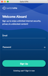 New SaferVPN app sign up